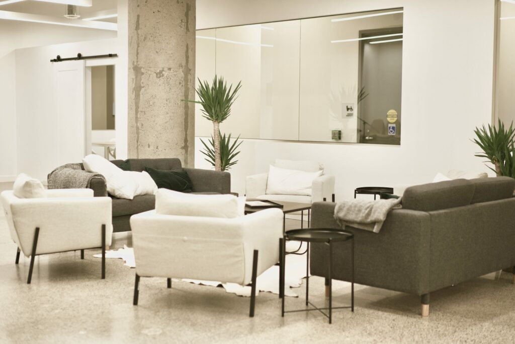 A open meeting area with couches.