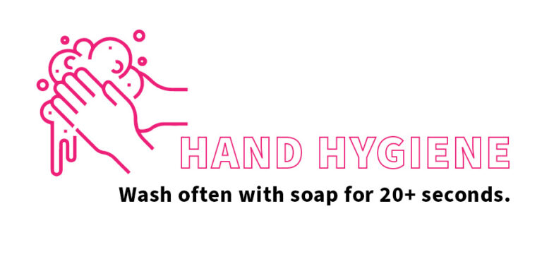 A graphic about hand washing. Hand Hygiene. Wash often with soap for 20 plus seconds