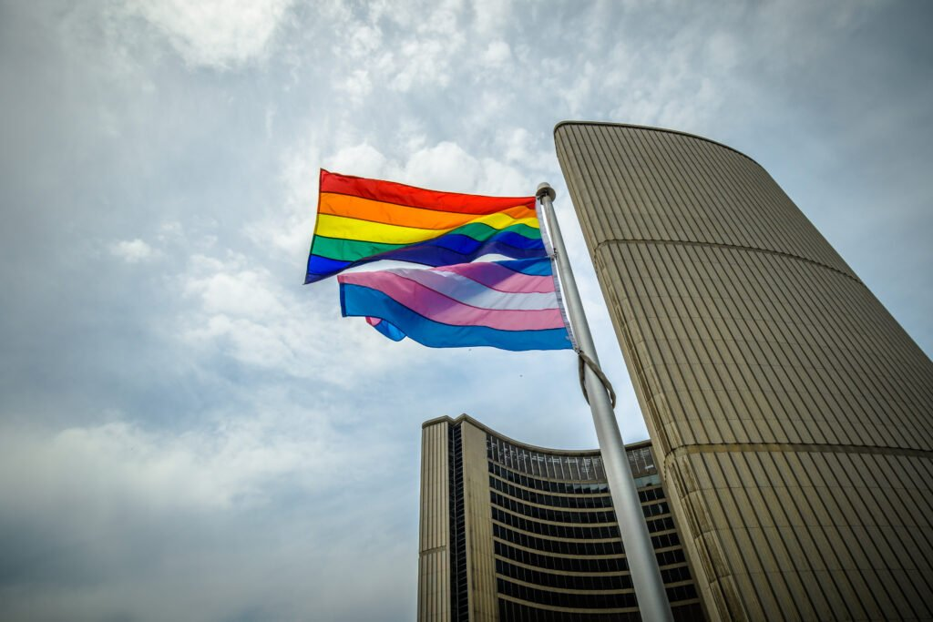 The Rainbow and Transgender Flag in front of Toronto City Hall