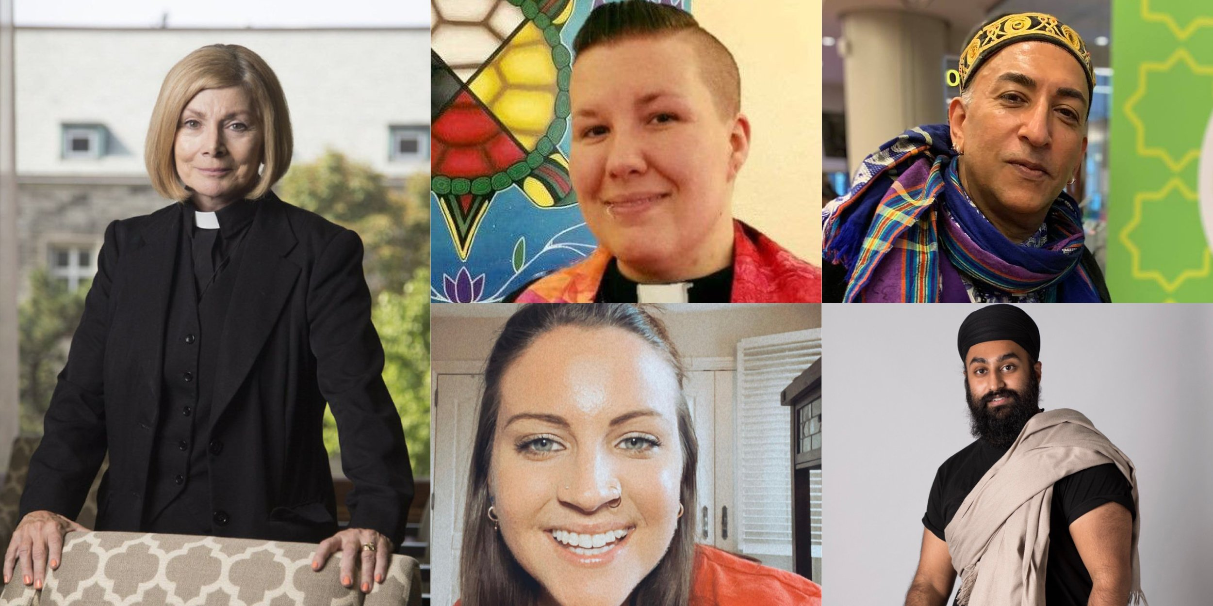 On the Left Cheri DiNovo, Middle top, Rev. Evan Swance-Smith (Urban Native Ministry) Top Right, El-Farouk Khaki (Salaam: Queer Muslim Community), Middle Bottom, Jess Burke (CIJA), Bottom Right Sardar. Jodh Singh (founder of the Queer Sikh Network).