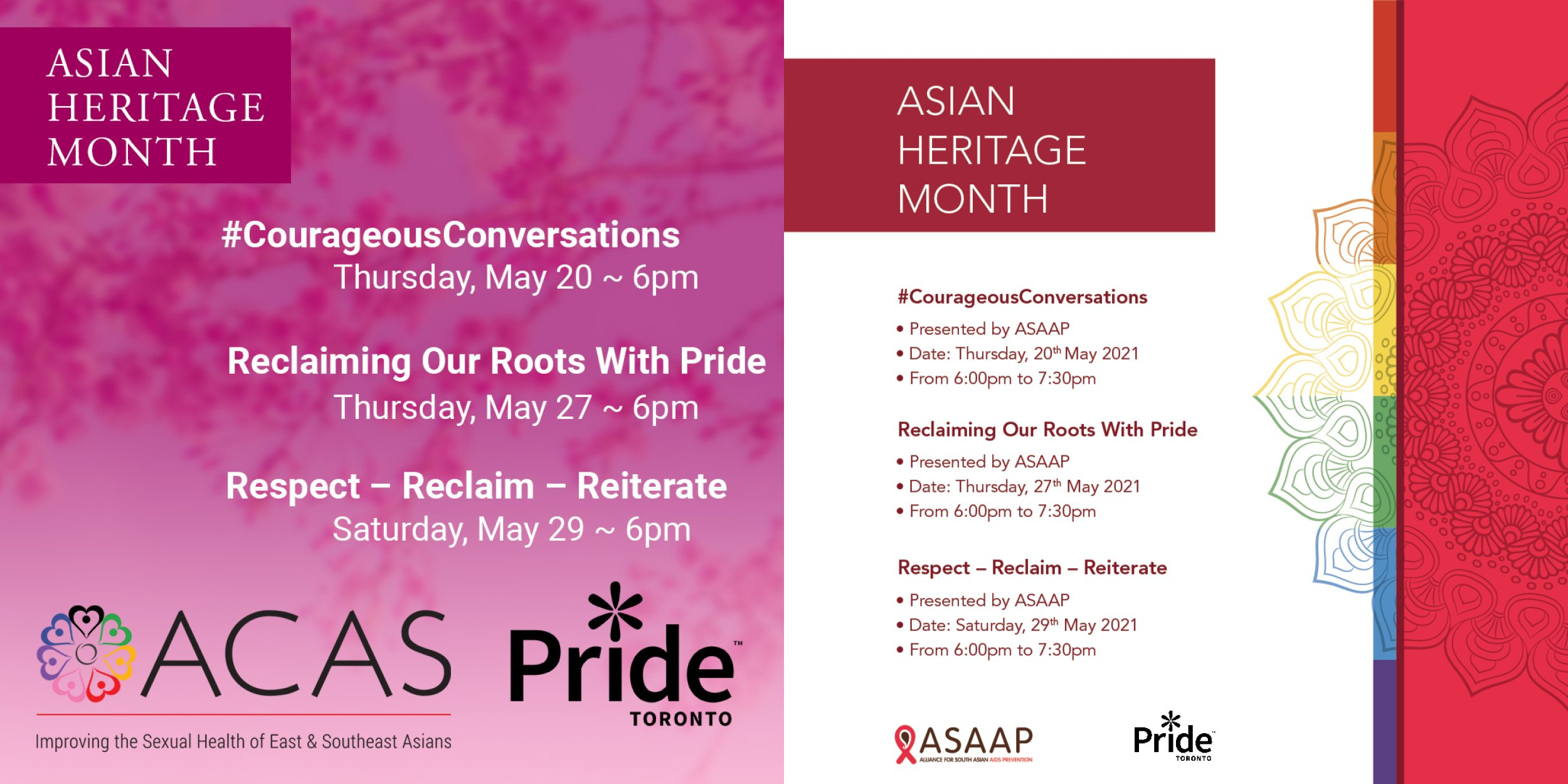 Asian Heritage Month, Presented by ACAS and ASAAP.