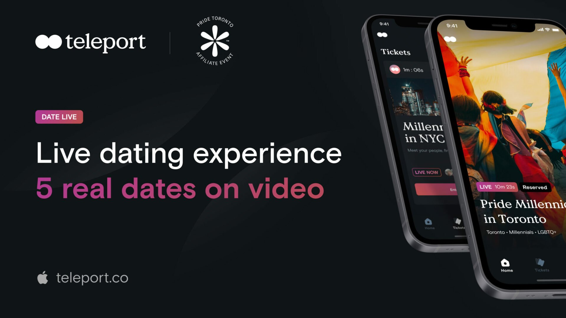 Text: Live dating experience 5 real dates on video