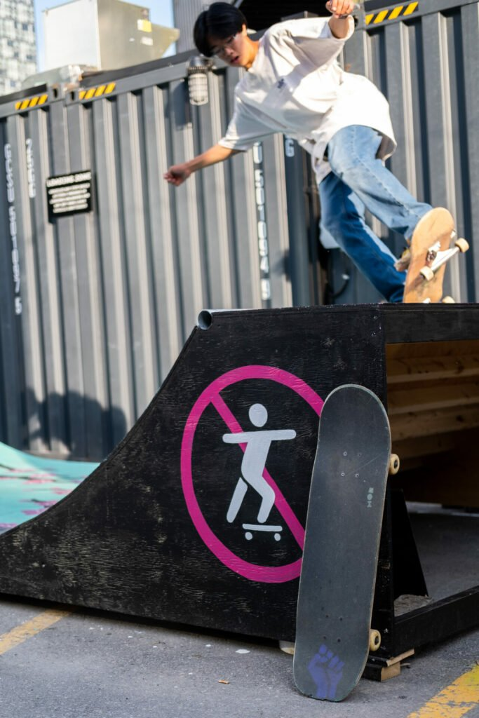 A skateboarder on the ramp